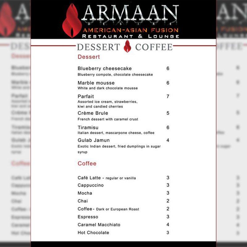 Dessert Coffee Menu